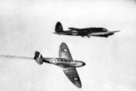 Supermarine Spitfire and Heinkel He 111 during Battle of Britain 1940