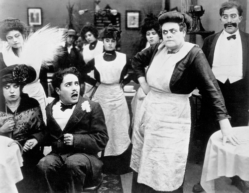 Tillies Punctured Romance - Scene with Normand, Chaplin and Dressler