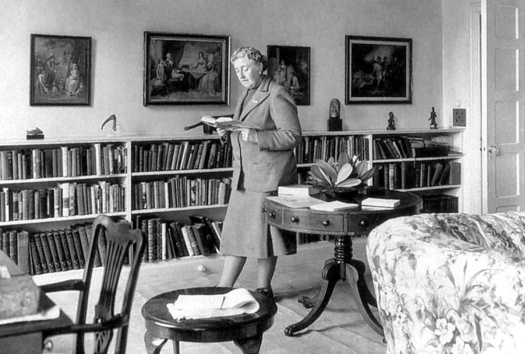 Agatha Christie in the library at Greenway House.